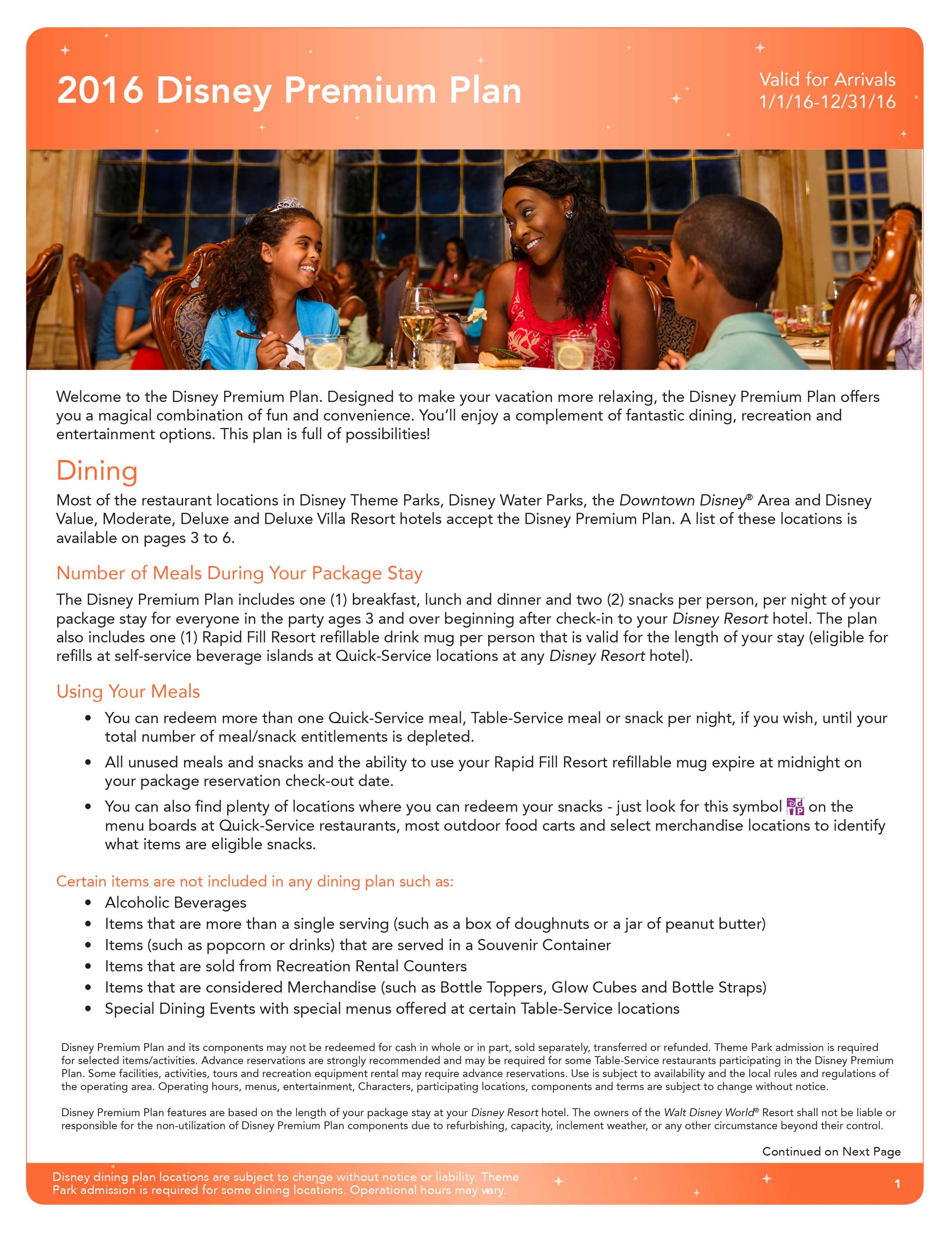2016 Disney Dining Plan brochures