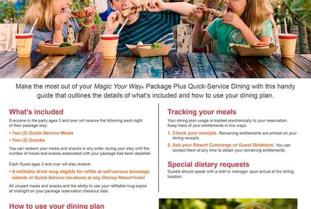 2017 Disney Dining Plan brochures