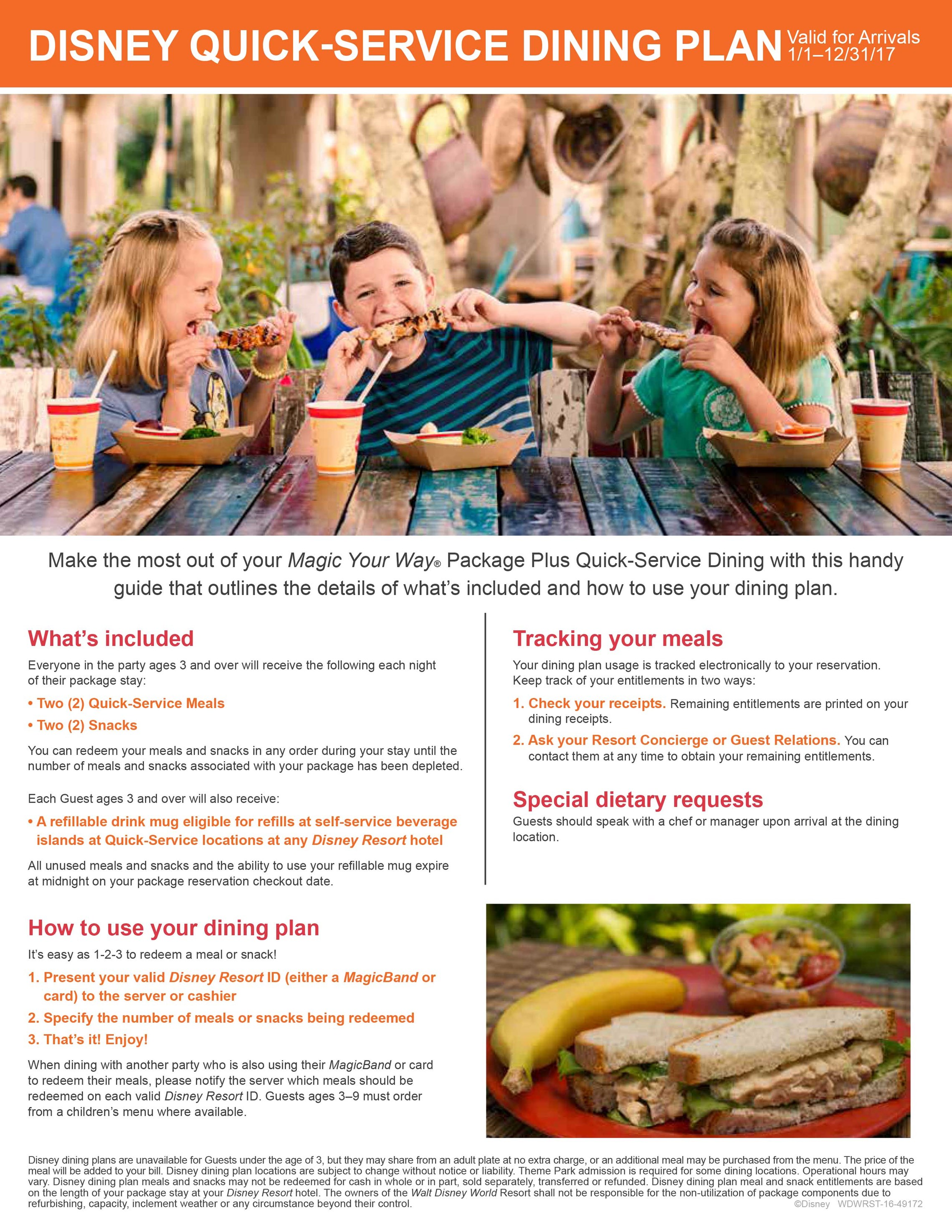 2017 Disney Dining Plan brochures