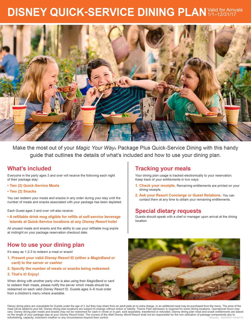 Free disney dining plan 2016 dates - 2017 Disney Dining Plan Brochures