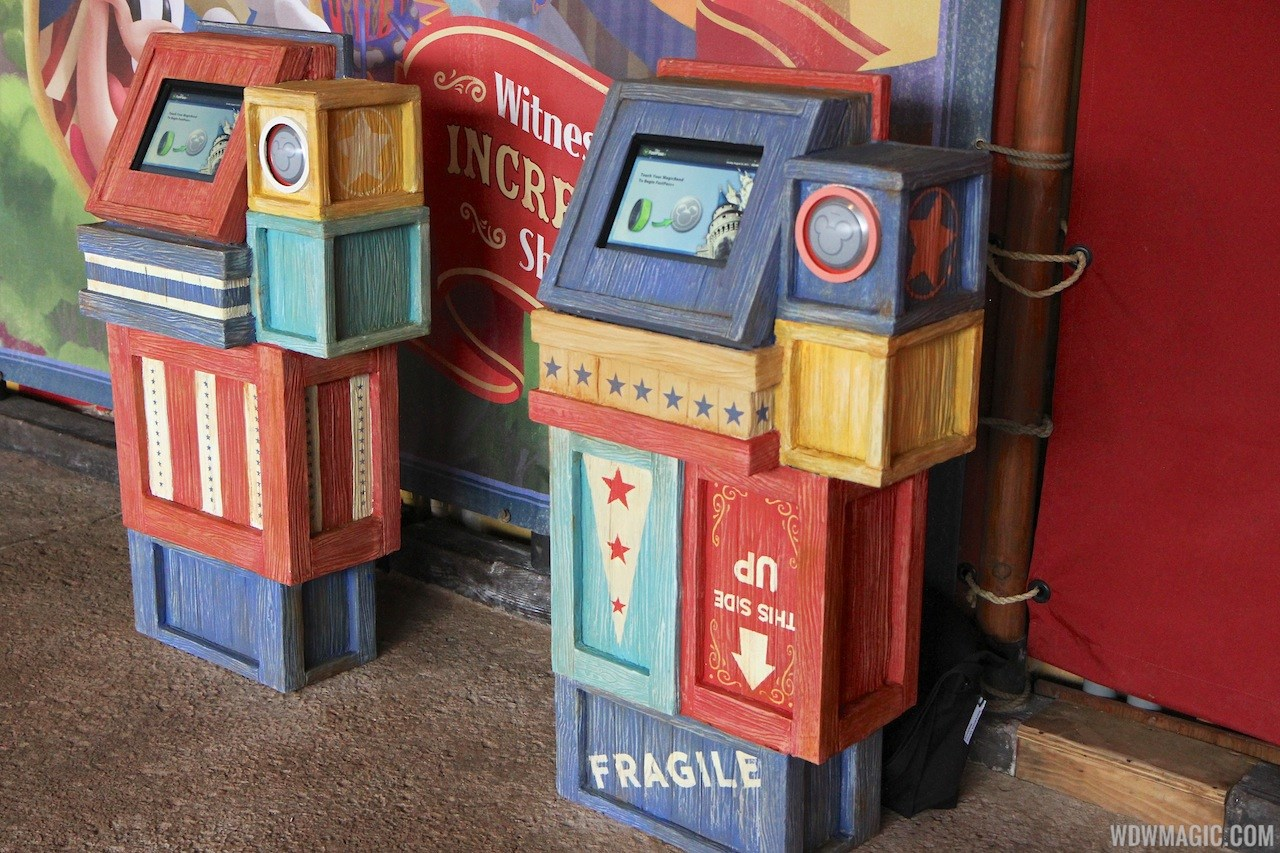 Storybook Circus FastPass kiosk and charging stations