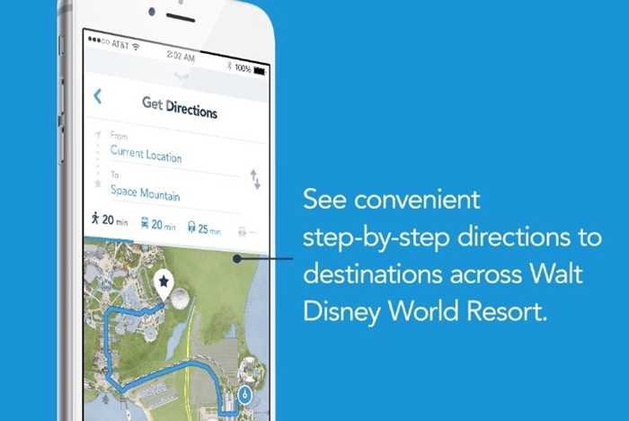 My Disney Experience - Get Directions feature