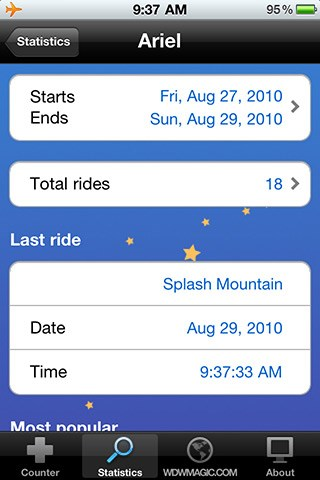 Ride Counter Screenshots - FREE iPhone and iPod Touch app from WDWMAGIC