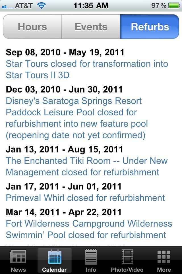 WDWMAGIC App V1.1 screenshots - new Calendar features