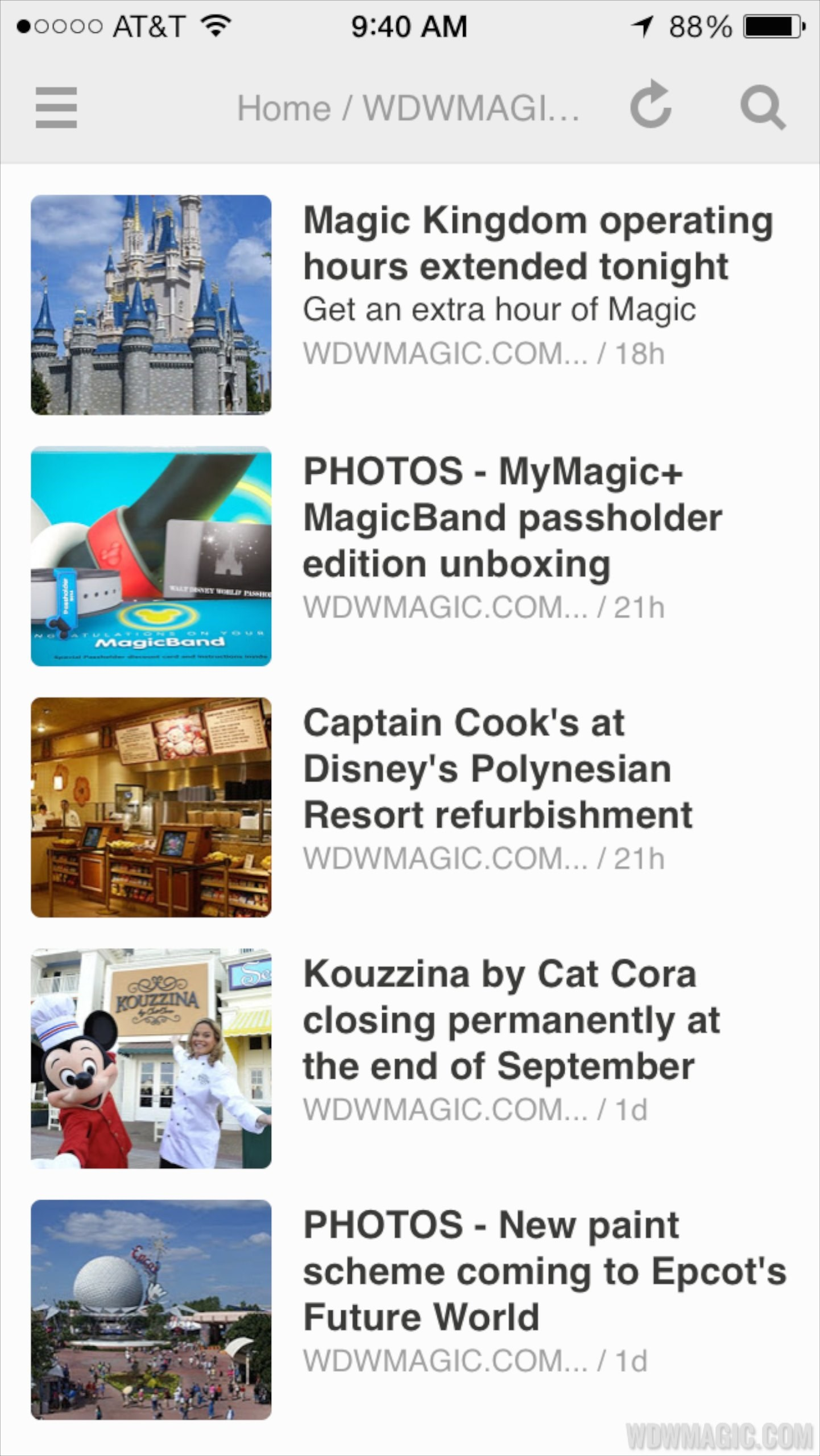 WDWMAGIC RSS screenshots