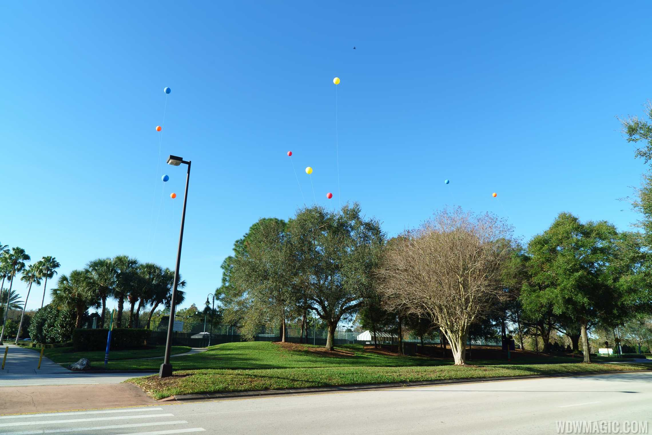 Balloons over then tennis courts