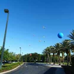 Height test balloons over parking lot