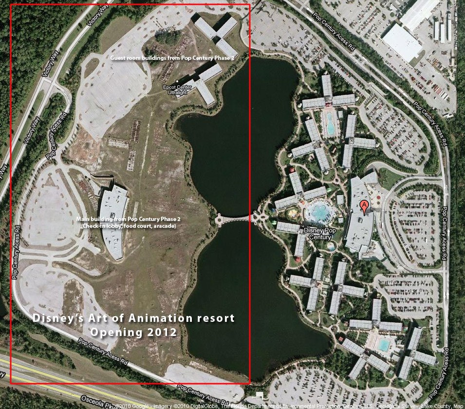Disney's Art of Animation Resort construction area satellite view