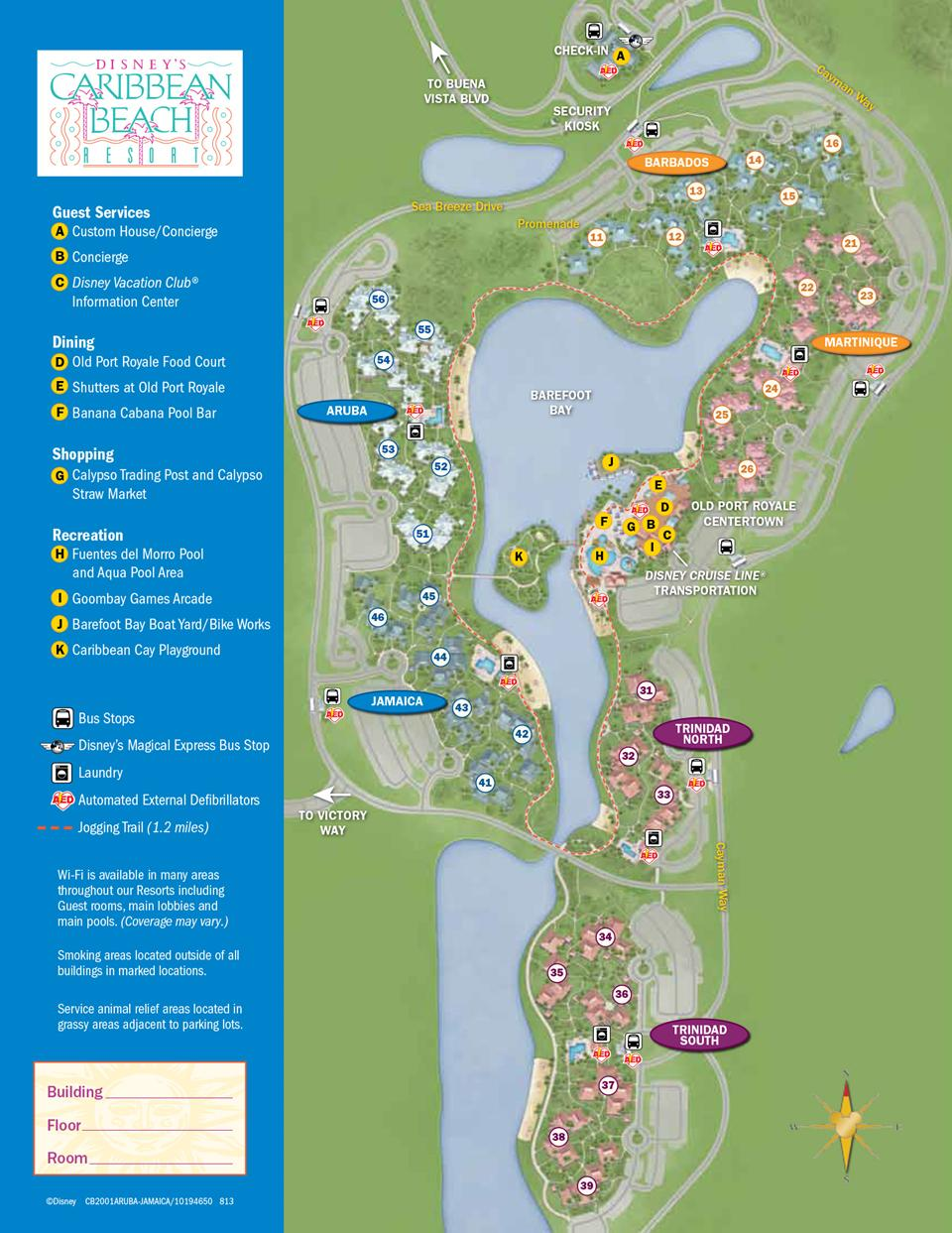 Caribbean Beach Resort Guide Map Photo Of - Caribbean map aruba