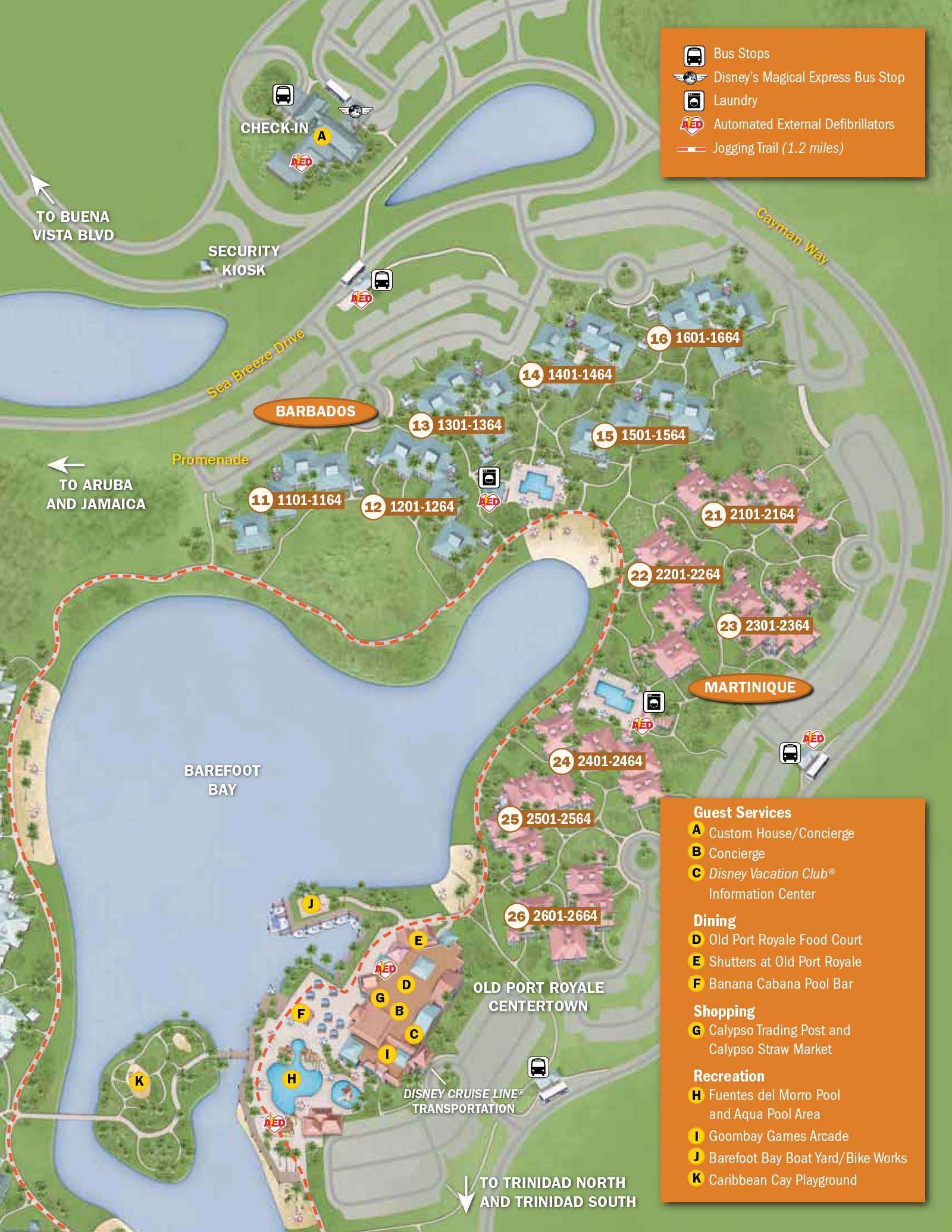 2013 Caribbean Beach Resort guide map Photo 4 of 6