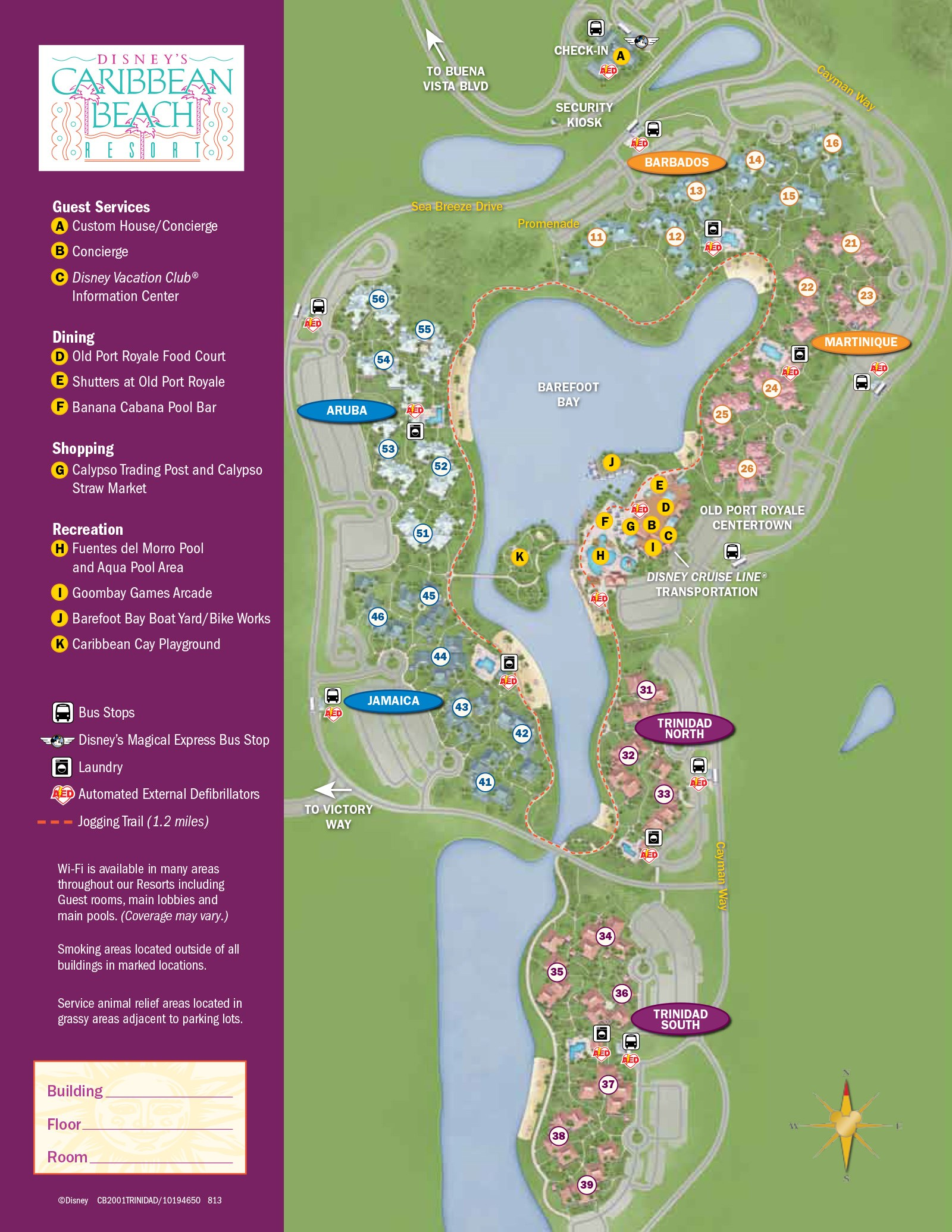 2013 Caribbean Beach Resort guide map