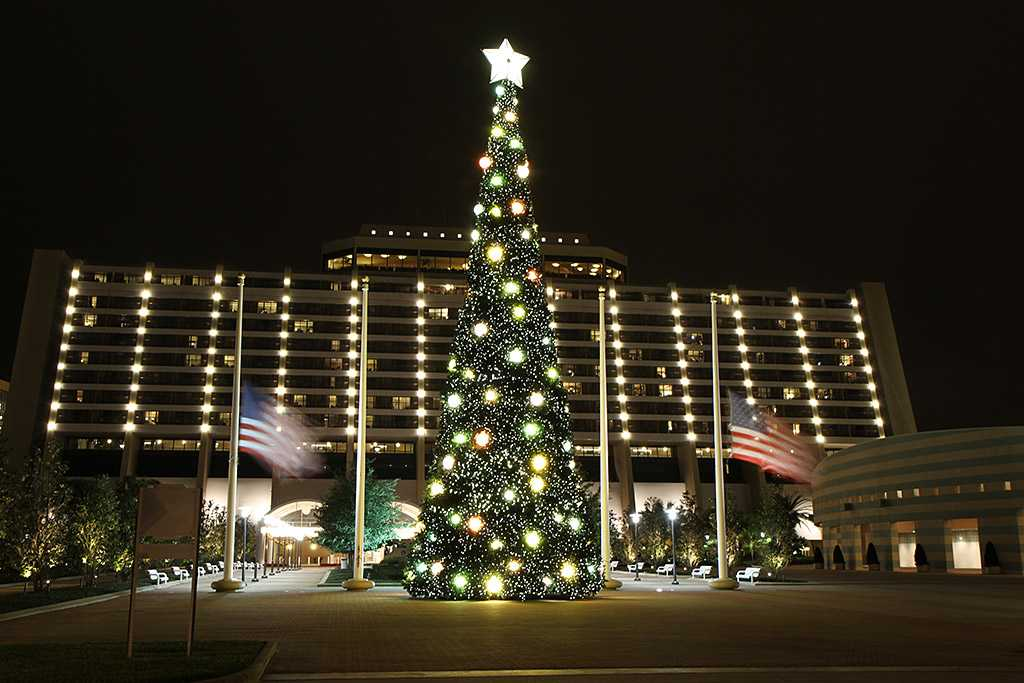The Contemporary Resort christmas tree - 70 ft tall featuring nearly 35,800 white LEDs