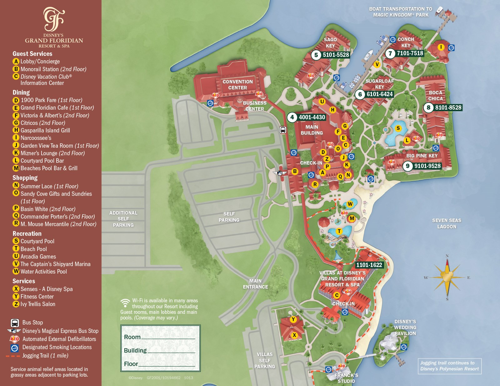 2013 Grand Floridian guide map