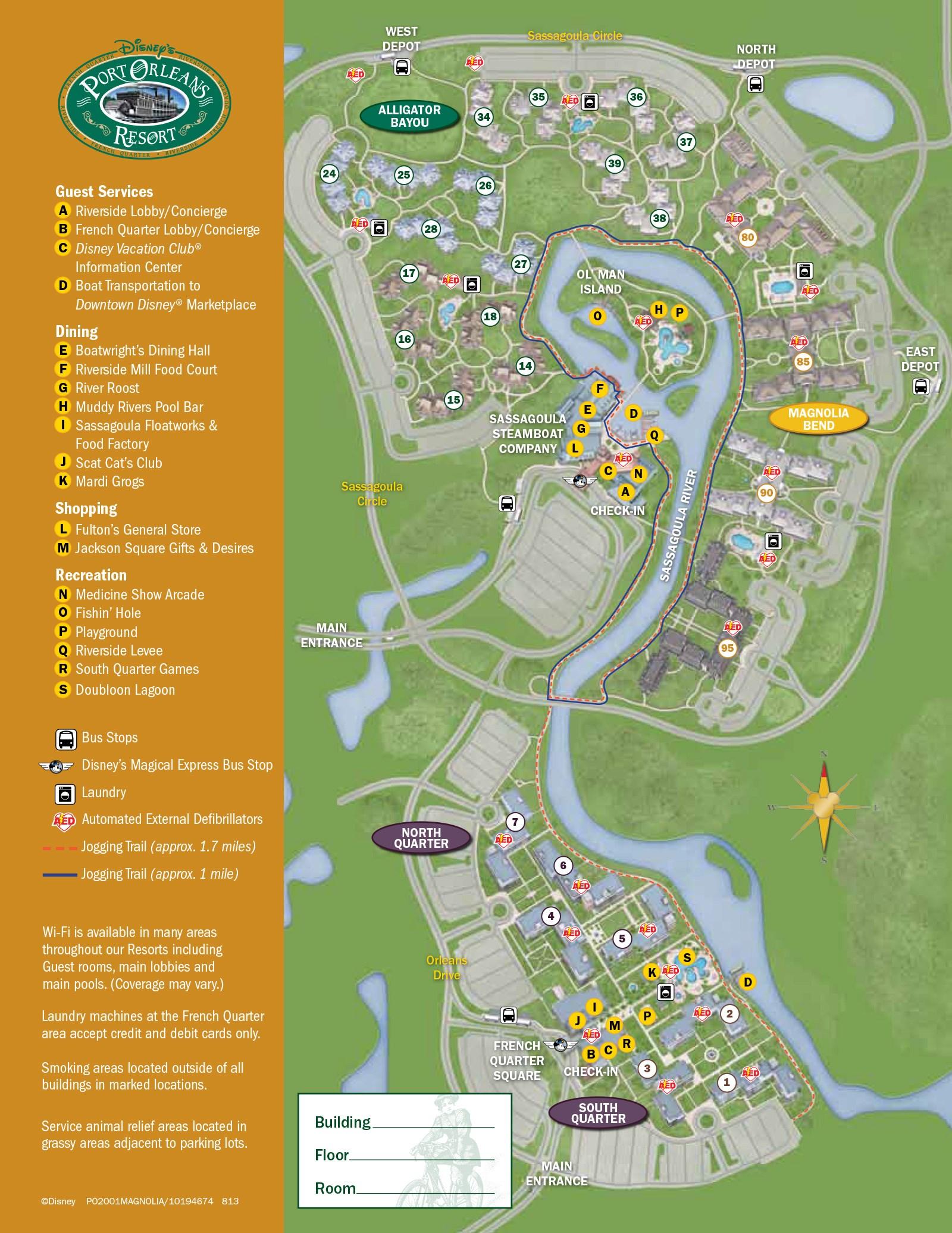 2013 Port Orleans Riverside guide map