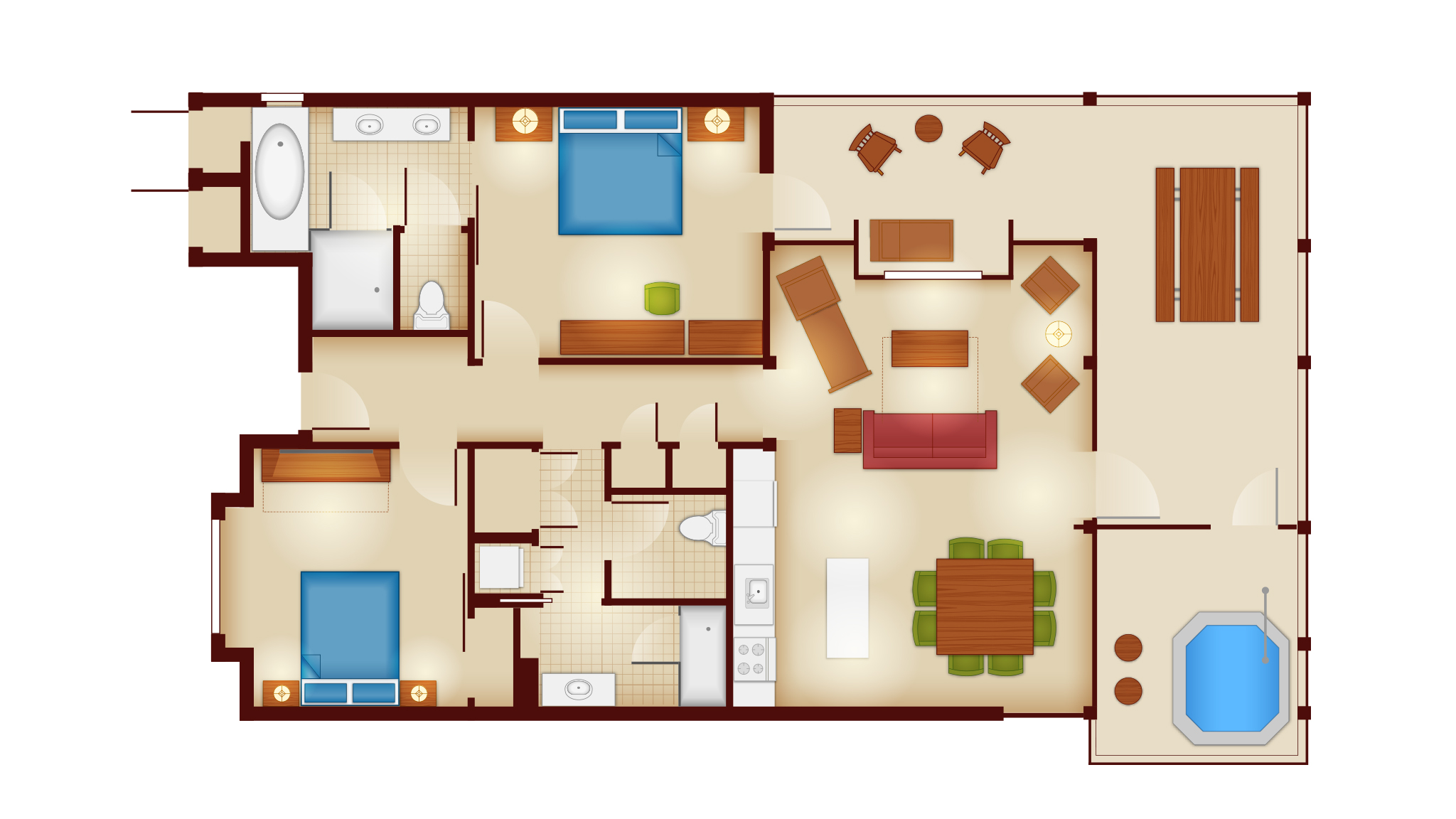 Copper Creek Villas And Cabins   2 Bedroom Cascade Cabin Floor Plan
