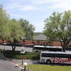 Magic Kingdom bus stop expansion - construction walls in place