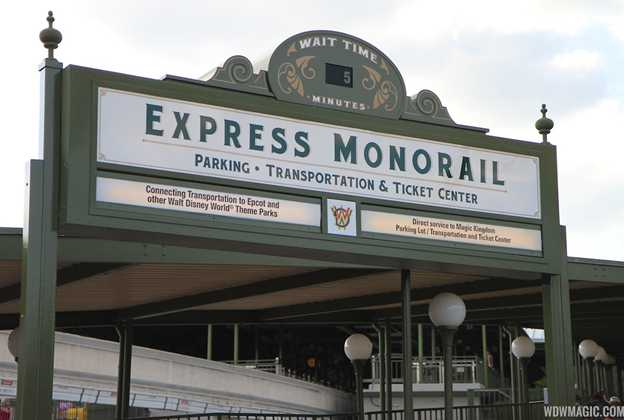 Express Monorail and Ferry Boat wait time board
