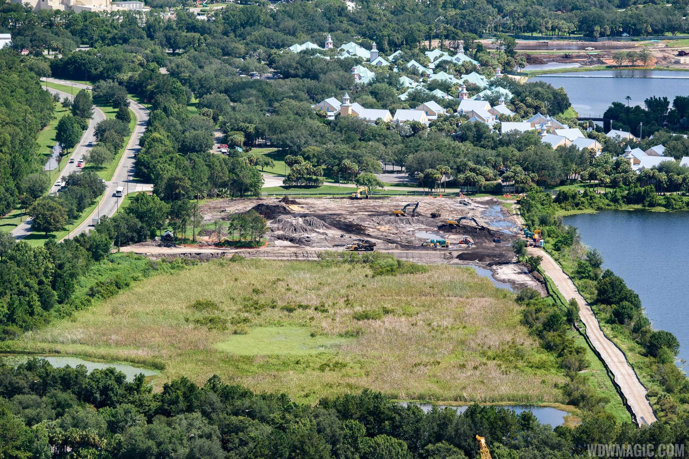 Disney Skyliner construction at Caribbean Beach Resort