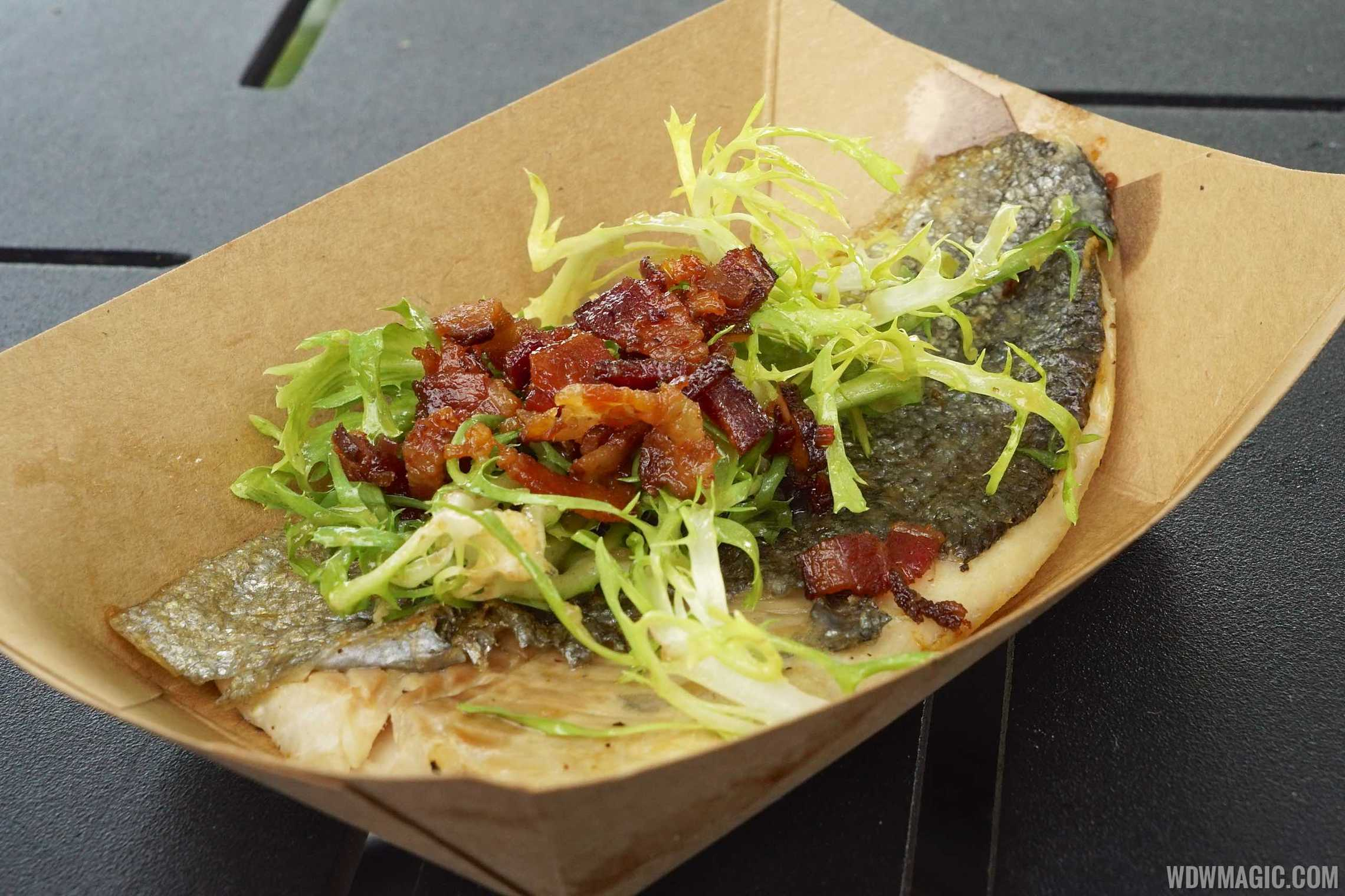 Seared rainbow trout at the Canada Pavilion kiosk
