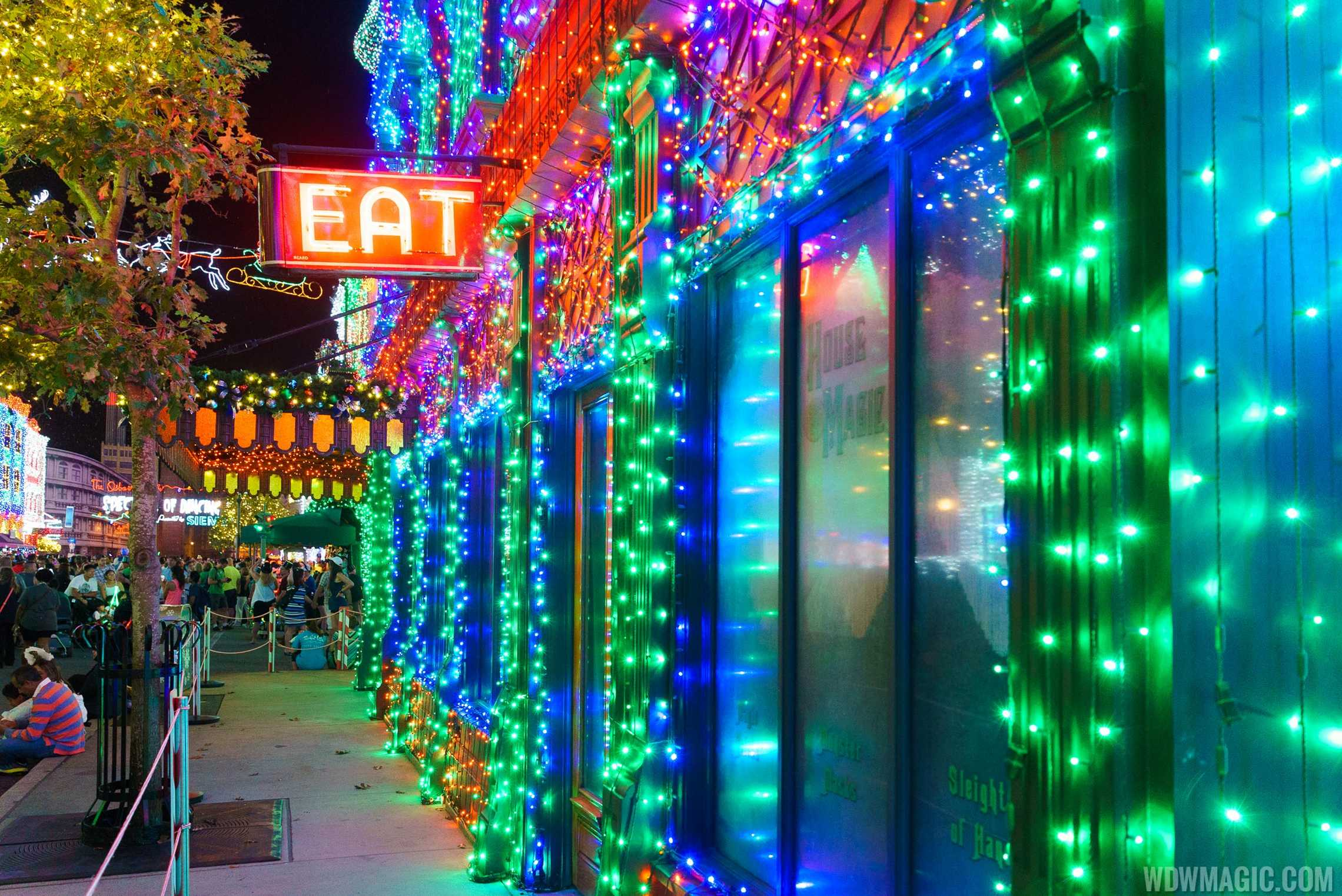 Lights covered every surface of the Streets of America