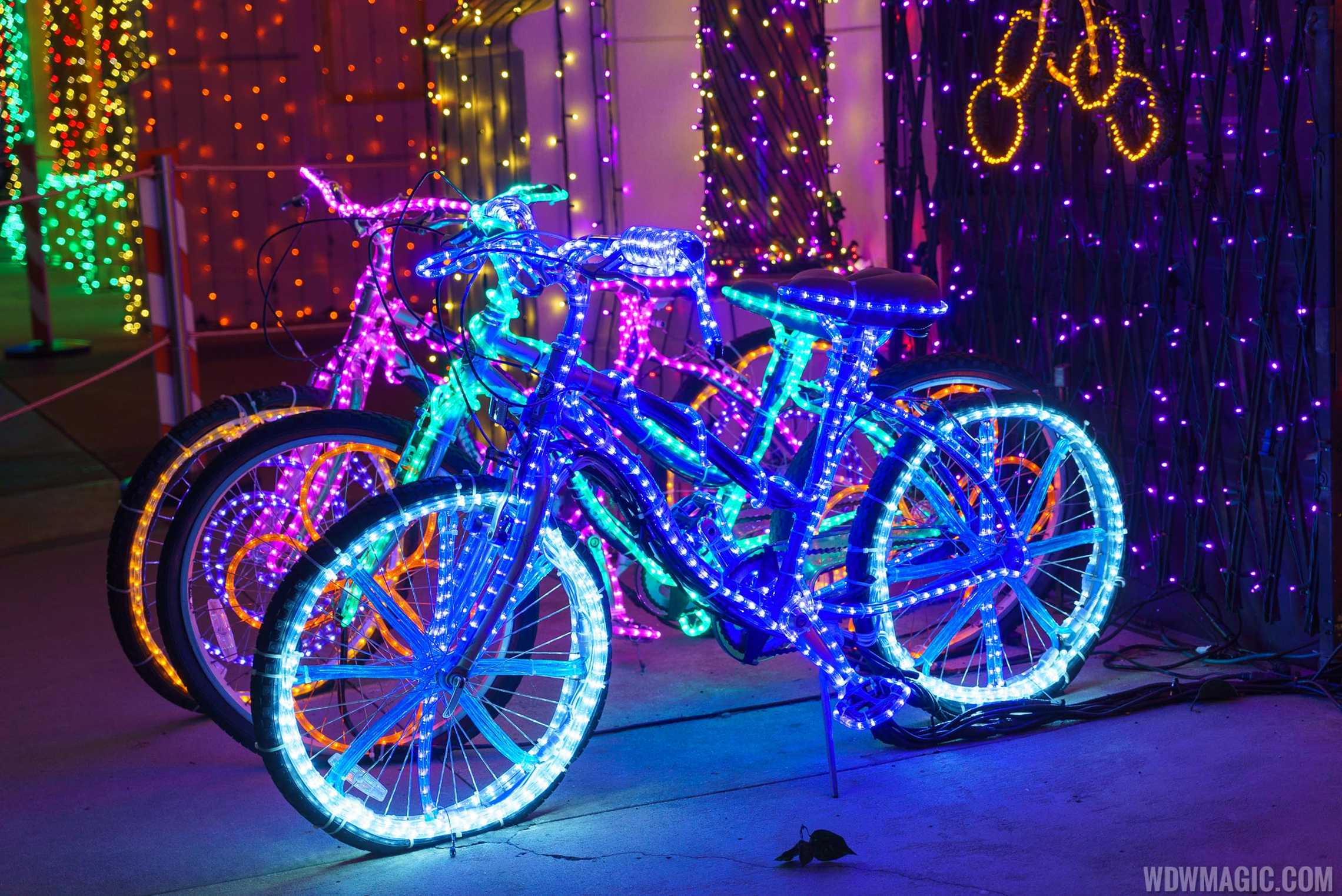 Even the bikes were decorated with lights